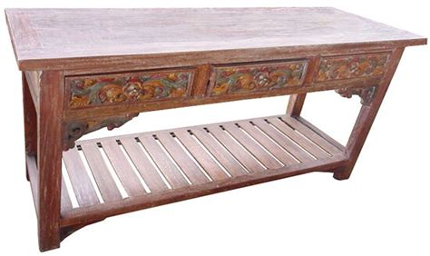 long teak wood console table  drawers hand carved rustic beautiful ebay