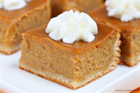 pumpkin baking recipes pumpkin pie bars recipe