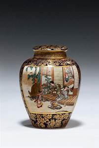 Japanese, Satsuma, Tea, Jar, By, Kinkozan