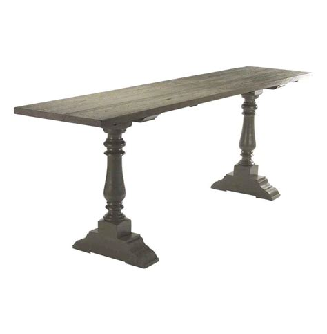rustic industrial table l hilbert weathered gray modern rustic industrial 98 quot l