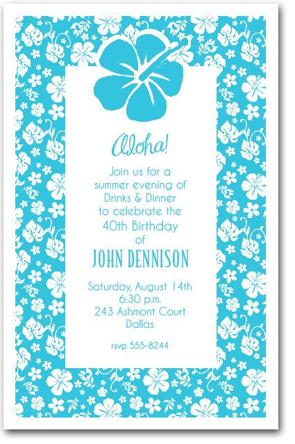 white hibiscus  turquoise hawaiian party invitations