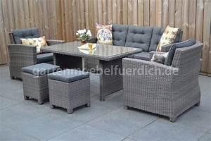 Lounge Set Garten : dakota dining lounge set 3er mit esstisch und 2 hocker dunkelgrau meliert garten m bel f r dich ~ Yasmunasinghe.com Haus und Dekorationen