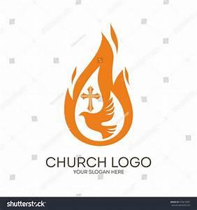 Church Logo Christian Symbols Dove Flame Stock Vector ...
