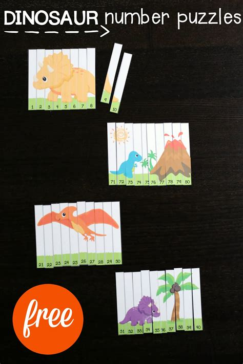 dinosaur number puzzles playdough to plato 268 | FREE Dinosaur Number Puzzles. Fun way to practice the numbers 1 to 100. Great for counting number recognition number sequencing and more. Perfect for a dinosaur unit