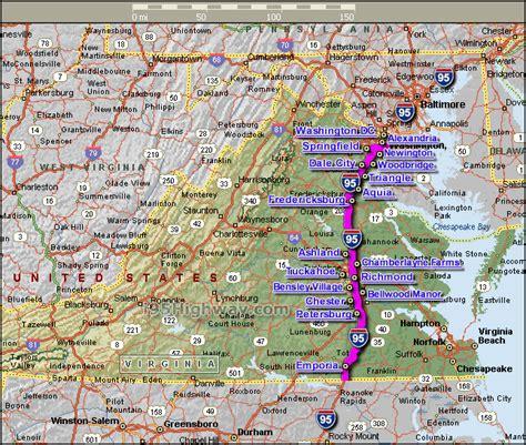 virginia map 95 interstate road usa counties maps satellite da states united index