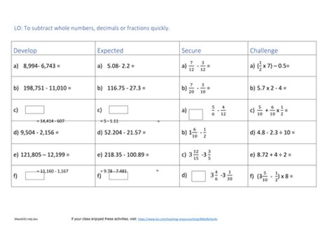 2017 ks2 year 6 maths sats revision algebra arithmetic subtraction fractions and bodmas