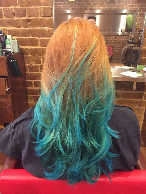 Natural Red Hair With Blue Ombre Hair And Makeup Tips And