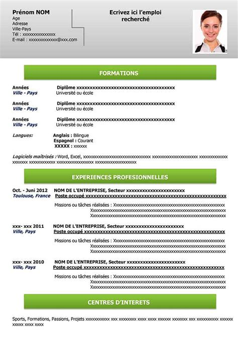 Model Cv Word En Francais by Cv Modele Format Word Cv Template Curriculum Vitae