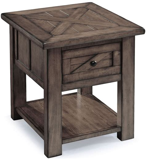 weathered wood end table garrett weathered charcoal wood rectangular end table