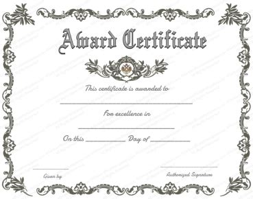 royal award certificate template  word  images