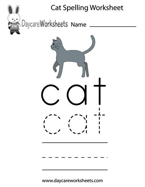 printable cat spelling worksheet  preschool