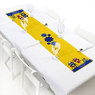 baby shower table runner robots personalized party petite table runner