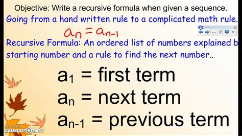 recursive formula lesson 1 arithmetic sequences