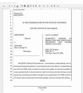 A new google docs pleading for california lawyers the for Pleadings template