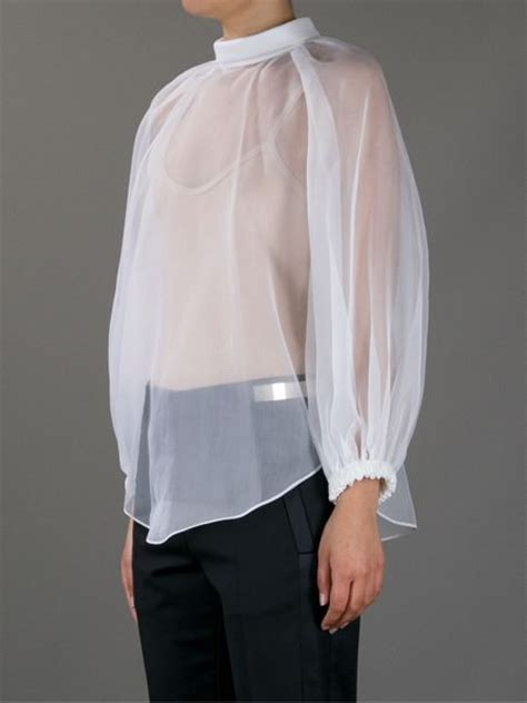 sheer white blouse givenchy sheer blouse in white lyst