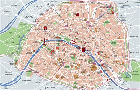 touristischen karte von paris sehenswuerdigkeiten und touren