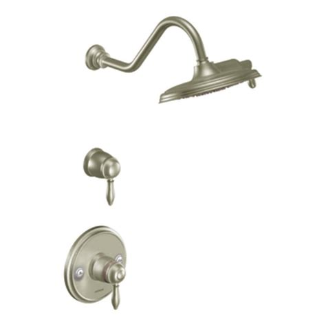 shop moen weymouth brushed nickel 1 handle shower faucet with showerhead at lowes