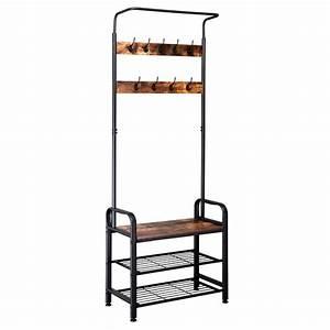 Industrial, Vintage, Coat, Rack, Shoe, Bench, Hall, Tree, Entryway, Storage, Shelf, 3, In, 1, Design