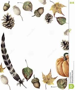 Watercolor Autumn Border Hand Painted Pine Cone, Acorn