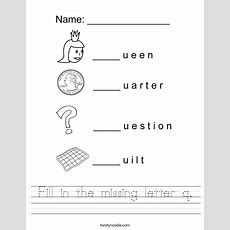 Fill In The Missing Letter Q Worksheet  Twisty Noodle