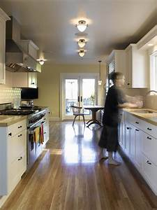 Galley kitchen lighting contemporary with black