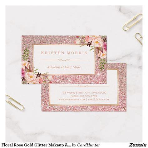 floral rose gold glitter makeup artist hair salon business