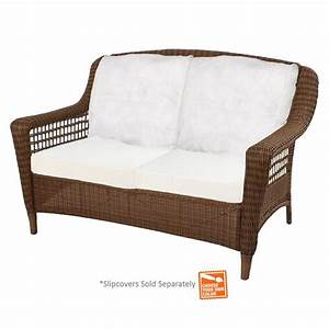 hampton bay spring haven brown wicker patio loveseat with With spring haven furniture home depot