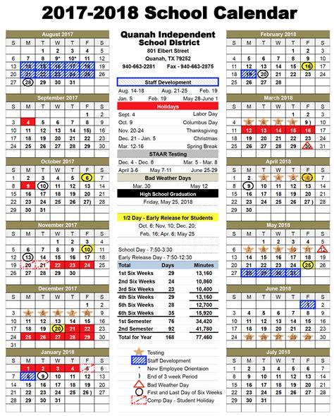 2017 18 school calendar template 2017 18 official school calendar quanah independent school district