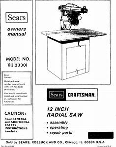 Craftsman 11323301 User Manual 12 In Radial Saw Manuals