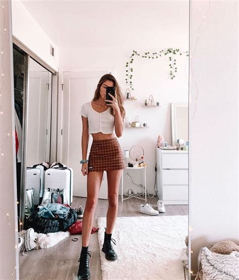 cute aesthetic white  brown mini skirt mirror selfie