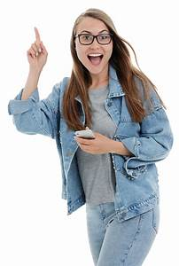 Happy, Girl, With, Smartphone, Png, Image
