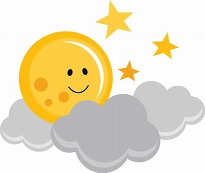 Moon Stars Clipart Sun Clouds Silhouette Clip