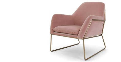 Armchair, Blush Cotton Velvet, Frame