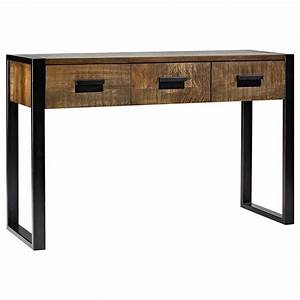 Console Bois Metal Industriel : atelier chic industriel console en bois avec pieds en ~ Teatrodelosmanantiales.com Idées de Décoration