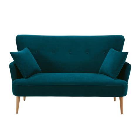 canape en s canapé 2 places en velours bleu pétrole maisons du