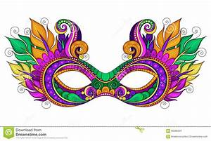 Vector Ornate Colored Mardi Gras Carnival Mask With ...