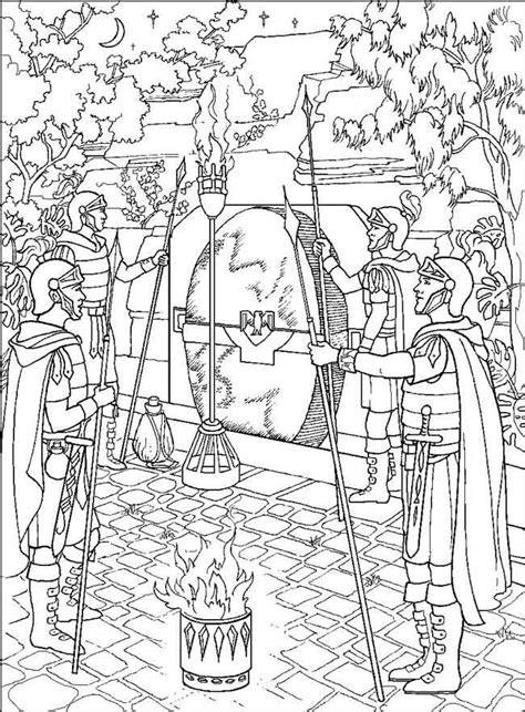 Kleurplaat Lazarus Leeft by Wachters Bij Het Graf Pasen Kleurplaten Bijbel