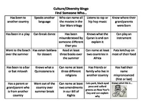 ice breaker cultural diversity bingo  alexandrakga tpt