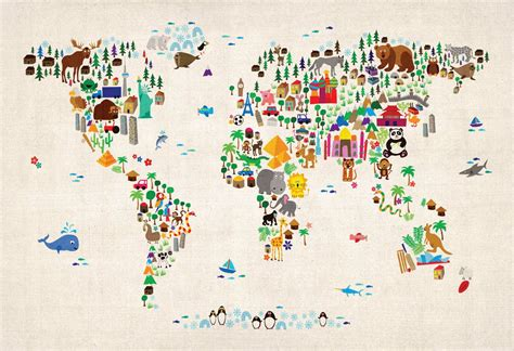 Animal World Map Wallpaper - wallpaper animal map of the world