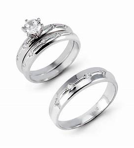 Gold wedding ring sets for bride and groom popular k white for Wedding ring sets white gold