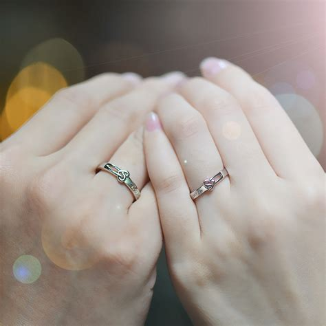 heart knot love engraved couple promise ring cute