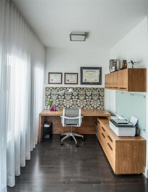 small home office design chic small home office with abstract wallpaper minimalist desk design ideas