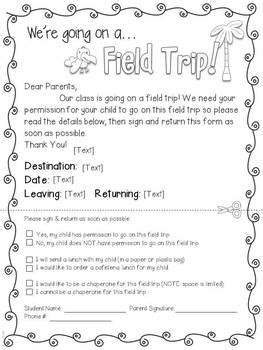field trip forms  zoojungle theme editable tpt