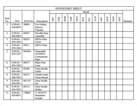inventory sheet template    documents