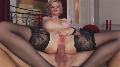 Blonde Milf Wearing Stockings Gets Cum On Tits After Anal