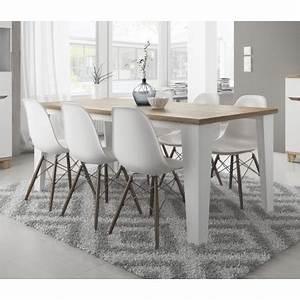 table lier couleur blanc et bois style scandinave With meuble de salle a manger avec tableau deco style scandinave