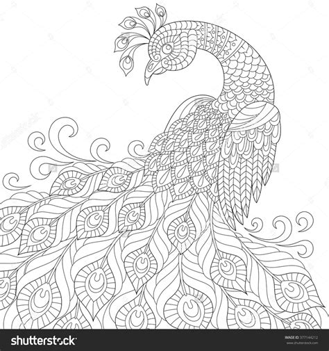 peacock coloring pages for adults decorative peacock anti stress coloring page black
