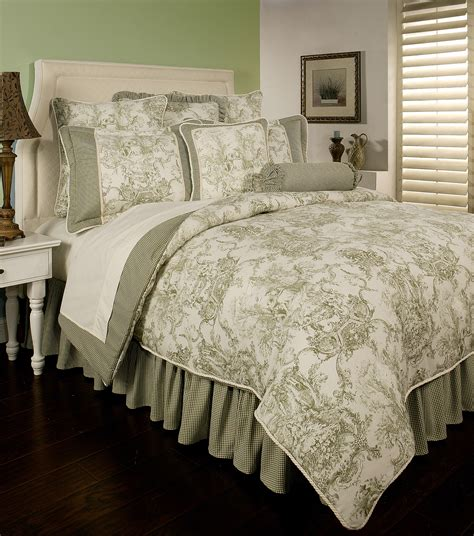 toile bedding country toile sage by sherry kline beddingsuperstore com