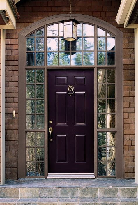 purple front door colors brick wall granite