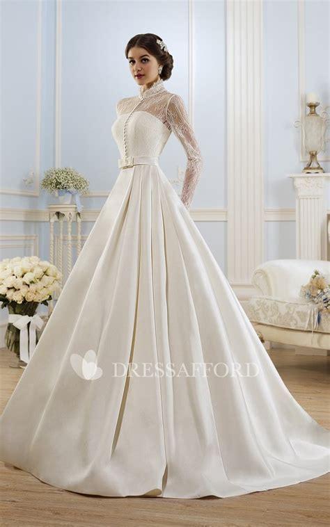 high neckline lace satin ball gown princess illusion dress